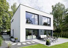 plano-casa-2-pisos-techo-plano -vista-frontal