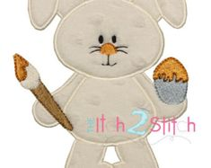 Easter Bunny Applique Design For Machine by TheItch2Stitch on Etsy