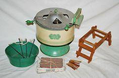Vintage WolverineTin Toy Sunny Suzy Washing Machine Tub Rack Clothes Line Pins Small Washing Machine, Washing Machines, Clothes Line, Washing Clothes, Antique Toys, Vintage Toys, Baking Set, Toy Kitchen, Old Toys
