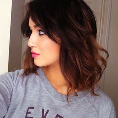 Dark brunette and warm ombre bob: