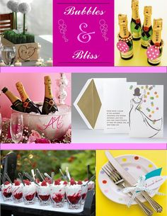 Champagne Shower...how cute! Polka dots on everything. Bonus idea: round ornaments hanging and/or laying around the party (in coordinating colors of course)