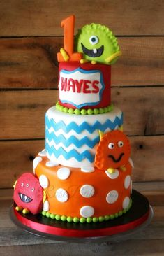 These Monster Cake & Cookies are a super cute party theme for a 1st birthday...bold, bright and happy monster cake & cookies!
