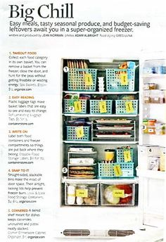 I have had this article posted to my bulletin board in the kitchen for two years now. Someday my freezer will look like this. Filing soups! Genius!