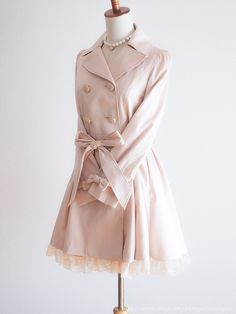 mimosa🌹Spring Pink Trench Coat Japan Size 9AR Romantic Lolita Hime Gyaru D188