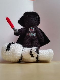 Crochet Darth Vader with Lightsaber: Star Wars inspired Amigurumi figurine, movie character miniature, handmade, unique collectible gift