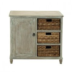 """32"""" Rustic Country Inspired Wood Dresser in Whitewash Taupe with Beveled Edges Featuring Matching Cabinet Door and 3 Walnut Sea grass Woven Wicker Basket Drawer"""