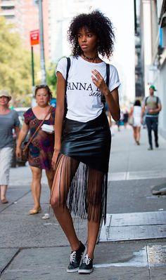Street style look saia franja