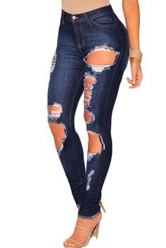 Pantalon jeans fashion slim déchiré en bleu foncé - bestyle29.com