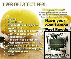 Lemon Peel contains as much as 5 to 10 times more vitamins than the lemon juice itself. With this powder all you do is add it to any beverage to add extra natural Vitamin C and extreme immune support. Great for fighting off the flu or a cold, and has a great taste. 4 oz and a great price for Organic Lemon Peel Powder, only $7.95. Order at http://balancedgreen.org  #naturalremedies #naturalalternatives #naturalcures #alternativemedicine