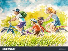 Happy family-boy and his parents on summer biking.Picture created with watercolors. Happy Family, Parents, Royalty Free Stock Photos, Biking, Boys, Illustration, Summer, Pictures, Painting