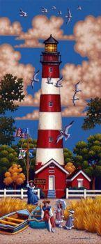 Assateague Lighthouse by Eric Dowdle - Assateague Island, Virginia Victorian beach Beautiful Tree Houses, House Beautiful, Cape Hatteras Lighthouse, Lighthouse Painting, Beacon Of Light, Naive Art, Pics Art, Beach Art, Nautical Theme