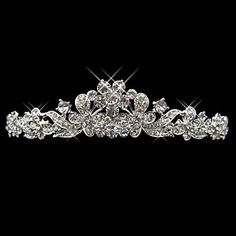 Exquisite Alloy With Rhinestone Butterfly And Flower Bridal Tiara – USD $ 19.99