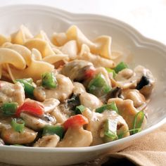 Chicken a la King~This chicken classic has been a family staple for decades. The low fat, high fiber recipe shown here has all the flavor of grandma's version, but is faster to make and healthier, too.