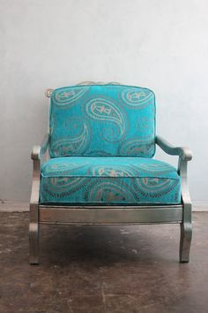 aqua teal turquoise | Aqua, Teal, Turquoise / Large Moroccan paisley velvet silver leaf by ...