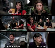 Hodgins always shows up in the wrong place at the wrong time... :D
