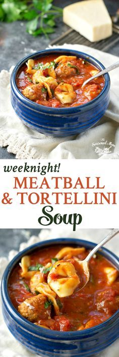With just 2 minutes of prep and one pot, this Weeknight Meatball and Tortellini Soup is an easy dinner that comes together in only 30 minutes! A super easy and comforting meatball and tortellini soup that comes together in only 30 minutes! Chili Recipes, Soup Recipes, Dinner Recipes, Tortellini Recipes, Cheese Tortellini, Recipies, Albondigas, Comfort Food, Slow Cooker