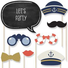 Amazon.com: Ahoy - Nautical - Piece Photo Booth Props Kit - 20 Count: Toys & Games