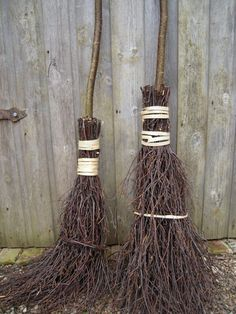 Traditional besom broom hazel handle silver by GreenwoodWoman