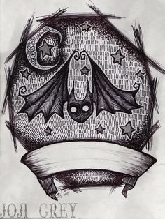 Bat Tattoo Design by TheKingOfMoths. on halloween tattoo Halloween Tattoo, Halloween Art, Desenhos Tim Burton, Tim Burton Style, Crow Skull, Kunst Tattoos, Cute Bat, Goth Art, Illustrations