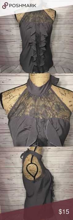 Heart soul Halter top medium Gray in color. Ties around the neck into a bow. Ruffles and Lace in the front. heart soul Tops Blouses