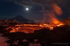 Beautiful pictures of volcanos Tolbachik volcano in Russia in 2013.  Photo by Liudmila and Andrey.