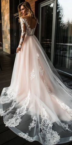 15 Illusion Long Sleeve Wedding Dresses You'll Like ❤️ illusion long sleeves wedding dresses princess low back lace florence dresses ❤️ Full gallery: https://weddingdressesguide.com/illusion-long-sleeve-wedding-dresses/