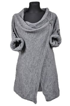 Elegant Cowl Neck Solid Color Slit Asymmetric Pullover Sweater For Women