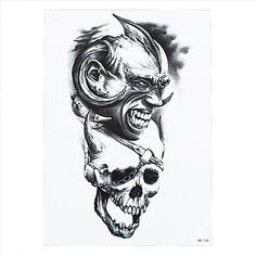 HJLWST 8PCS Fashion Paste Paper Waterproof Temporary Tattoo Sticker Skull Eagle Wave Women Man Body Art Painting Tattoo Tatoo. Tattoo sticker use green ink and glue, is harmless to human body. Paste the successful design with waterproof and sweat-proof function, will not fall off in the shower, but do not rinse with hot water for too long, should not be rubbed with. Different parts of the pattern paste, duration of different patterned after 3-5 days began to fall under normal usage...