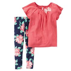 Carters 3 6 9 12 18 24 Months Bow Top & Floral Leggings Set Baby Girl Clothes  #Carters #Everyday