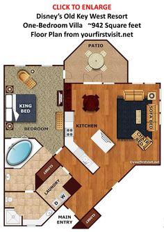 One Bedroom Villa Floor Plan Disney's Old Key West Resort from yourfirstvisit.net