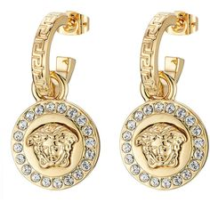 Versace Embellished Earrings ($395) ❤ liked on Polyvore featuring jewelry, earrings, gold, versace, logo earrings, polish jewelry, earring jewelry and crystal stud earrings
