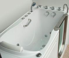 I've always wanted a walk in tub! Acrylic Walk in Tubs Deluxe Edition Spa Tub, Bathroom Spa, Bathroom Fixtures, Small Bathroom, Bathroom Ideas, Walk In Tubs, Walk In Bathtub, Step In Tub, Unclog Bathtub Drain