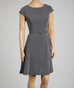 Take a look at this Charcoal Belted Skater Dress by AA Studio on #zulily today!