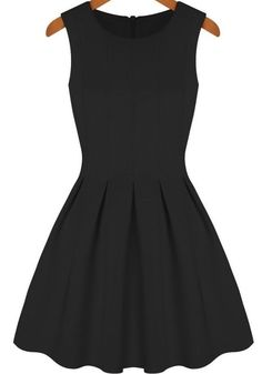 Sleeveless Pleated Flare Black Dress at Romwe - Such a cute preppy dress!