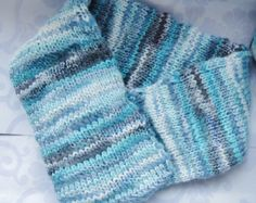 Blue scarf blue knitted scarf blue cowl handknit by OnePurlRow