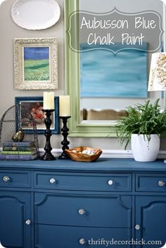 Tutorial from Thrifty Chick for transforming a black dresser with chalk paint and wax.  This is Annie Sloan aubusson blue chalk paint.
