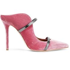 Malone Souliers Maureen metallic leather-trimmed velvet mules ($560) ❤ liked on Polyvore featuring shoes, slim shoes, pink high heel shoes, velvet slip on shoes, pink shoes and slip on high heel mules