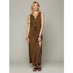 Free People Distressed Brown Maxi Column Dress   OUR PRICE: $32.50 #freepeople #festivalfashion #festivalstyle #boho #wanderlust