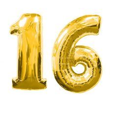Large Gold Number 16 Sweet Sixteen Balloon by ACharmingGalore