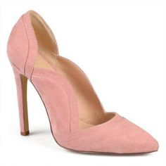 Brinley Co. Womens Pointed Toe Scalloped Faux Suede High Heel Pump, Women's, Size: 8.5, Pink