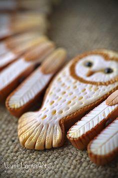 VaniLlamaArt - handmade: Golden Owl neck :) / Barn Owl necklace