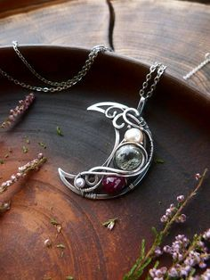 Ruby and Amethyst Multi-stone silver necklace Moon shape - wire wrapped silver pendant - romantic jewelry - luxury classic jewelry Moon Jewelry, Wire Jewelry, Pendant Jewelry, Jewelery, Silver Jewelry, Handmade Jewelry, Jewelry Roll, Gold Jewellery, Beaded Jewelry