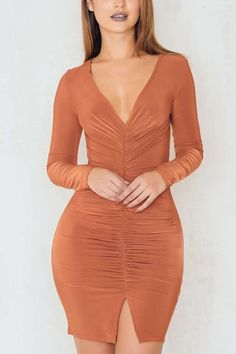 Orange Long Sleeve Deep V Rugged Mini Dress 8bde21d5a132