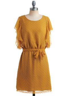 Go for the Goldenrod Dress - Yellow, Bows, Cutout, Ruffles, Casual, Vintage Inspired, A-line, Short Sleeves, Spring, Summer, Mid-length