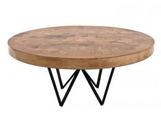 'Maurits' Dining Table Fred&JUUL (IT) '  78x160 cm /  Inspired by Escher's  puzzle prints, geometric-patterned top is crafted w/ 229 'rhomboid' inlaid shapes, from recycled wine barrel wood +blk powder-coated satin-finish iron legs