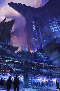 Fallen Heroes: Club Avon futuristic sci-fi cityscape illustration by Jose Borges
