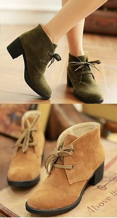 This ankle-boots with a lace-up touch must look amazingly cute with a skirt! Repin if you like them!