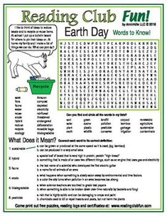 EARTH DAY Puzzles - Learn many new words related to the environment, recycling, and renewable energy with this Word Search Puzzle! This page has a special additional section where kids match vocabulary to their correct definitions.