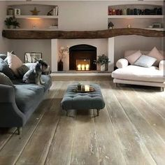 32 Popular Simply Farmhouse Living Room Decorating Ideas is part of Farm house living room - Cottage Living Rooms, Living Room Interior, Home Living Room, Living Room Designs, Living Area, Log Burner Living Room, Cozy Room, Trendy Home, Fireplace Design