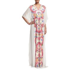 Naeem Khan 3/4-Sleeve Basic Threadwork Caftan (47.255 VEF) ❤ liked on Polyvore featuring tops, tunics, blue multi, blue top, white tunic, embroidered tunic, kaftan tunic and v-neck tops